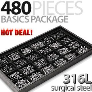 480 Pieces of 316L Surgical Stainless Steel Basics Starter Package with Free Display Tray: West Coast Jewelry: Jewelry