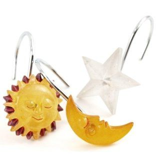 Sun Moon & Star 12 Piece Resin Shower Hook Set   Shower Curtain Decorative Hooks