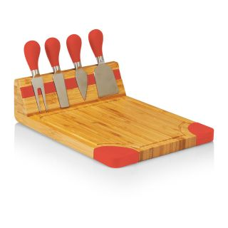 Picnic Time Artisan Cutting Board   Natural Wood with Red Accents   Cutting Boards