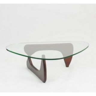 Modway Triangle Cherry Wood Glass Top Coffee Table   Coffee Tables