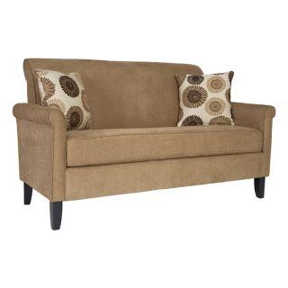 angeloHOME Harlow Sofa La Crema Linen Tan With Cafe Brown & Cream Floral Pillows   Sofas