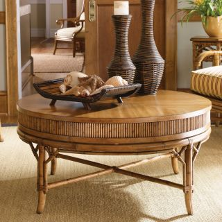 Tommy Bahama by Lexington Home Brands Beach House Oyster Cove Round Golden Umber Wood Cocktail Table   Coffee Tables