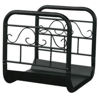 Uniflame Large Black Wrought Iron Log Rack with Wheel and Removable Cart   Fireplace Tools