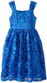Bonnie Jean Girls 7 16 Blue Bonaz Mesh Dress, Royal, 14 Special Occasion Dresses Clothing