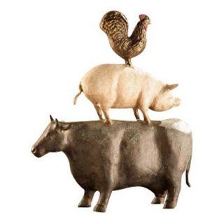 San Pacific International 15.5H in. American Folk Art Chicken / Pig / Cow Trio Statue   Set of 3   Sculptures & Figurines