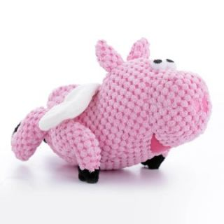 goDog Checkers Flying Pig Dog Toy with Chew Guard   Plush Dog Toys