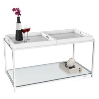 Convenience Concepts Palm Beach Rectangle White Metal and Glass Coffee Table with Removable Trays   Coffee Tables