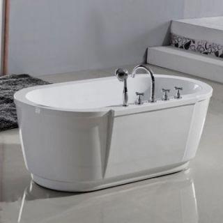 Aquatica PureScape 63 Inch White Freestanding Tub PURESCAPE 114   Freestanding Tubs