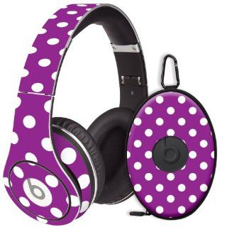 White Polka Dot on Purple Decal Skin for Beats Studio Headphones & Carrying Case by Dr. Dre: Electronics