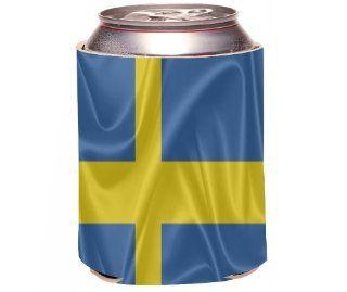 Rikki KnightTM Sweden Flag Design Drinks Cooler Neoprene Koozie Cold Beverage Koozies Kitchen & Dining