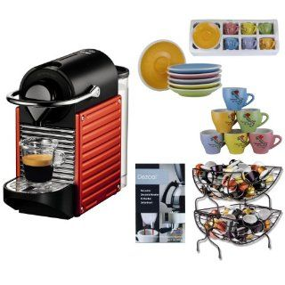 Nespresso C60USRENE Pixie C60 Single Cup Espresso Maker in Red + Single Serve Coffee Baskets + Urnex Dezcal Home Activated Coffee/ Espresso Descaler + Two 3 oz Ceramic Tiara Espresso Cups and Saucers Kitchen & Dining