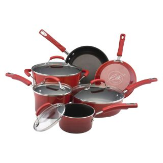 Rachael Ray Porcelain Enamel II 10 Piece Cookware Set   Two Tone Red   Cookware Sets