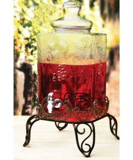 Circleware Tuscany Fruit Pattern Glass Beverage Dispenser with Metal Stand   Beverage Dispensers