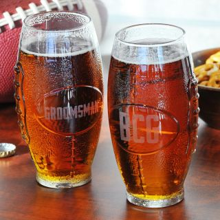 Cathys Concepts Personalized Glass Football Tumbler   Beer Glasses