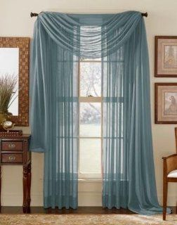 "84"" Long Sheer Curtain Panel   Slate (Dusty Blue)   Window Treatment Sheers"