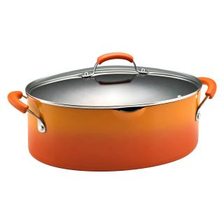 Rachael Ray Porcelain Enamel II 8 qt. Covered Oval Pasta Pot with Pour Spout   Two Tone Orange   Stock Pots