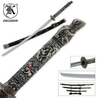 3 Pc. Dragon Conqueror Samurai Sword Set & Display Stand  Martial Arts Swords  Sports & Outdoors