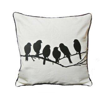 NAVA New Modern Cotton Canvas Songbirds White & Black Pillow Case Cushion Cover Sham Art Decorative Pillow Throw