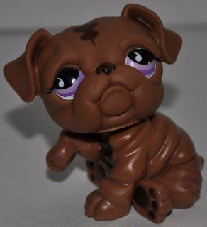 Bulldog #881 (Dark Brown, Purple/Pink Eyes)   Littlest Pet Shop (Retired) Collector Toy   LPS Collectible Replacement Single Figure   Loose (OOP Out of Package & Print)