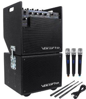 Vocopro Mobile Man 2 Battery Powered Portable PA Audio System And Subwoofer High Powered Amplifier For Big Sounds Even Outdoors, With 3 Wireless Microphones,SD Card Recorder, Battery Powered For Portability, And Multiple Inputs Musical Instruments
