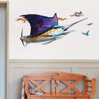 Wall Decals   Sailfish And School of Flying Fish by Bold Wall Art   Right Facing, Extra Large   Artwork