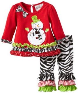 Rare Editions Baby Baby girls Newborn Top With Snowman Applique To Zebra Print Legging Set, Red/Black/White, 3 Months: Clothing