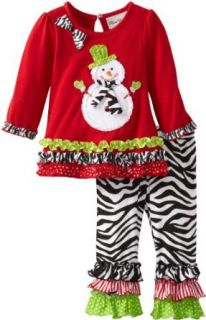 Rare Editions Baby Baby girls Infant Knit Top With Snowman Applique With Zebra Print Legging Set, Red/Black/White, 18 Months: Clothing