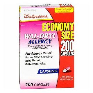 WAL DRYL ALLERGY DIPHENHYDRAMINE HCL 25 MG / ANTIHISTAMINE   200 CAPSULES: Health & Personal Care