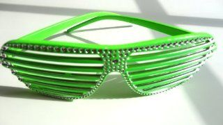 Rhinestone studded shutter shade style glasses (Green)  Other Products