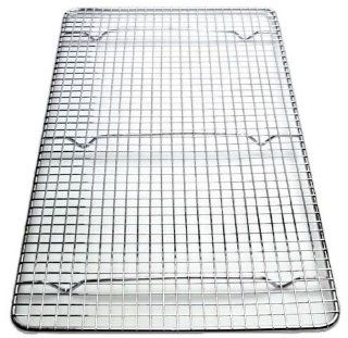 NEW, Cross Wire Grid Cooling Rack, Wire Pan Grate, Baking Rack, Icing Rack, Chrome Plated Steel, Rectangle shape, 6 Raised Feet, Commercial Quality, Full Size   10 x 18 Inches: Kitchen & Dining