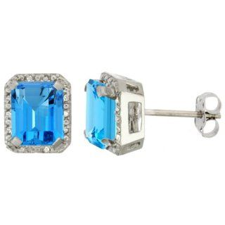 10K White Gold Diamond Natural Swiss Blue Topaz Earrings Octagon 8x6 mm: Jewelry