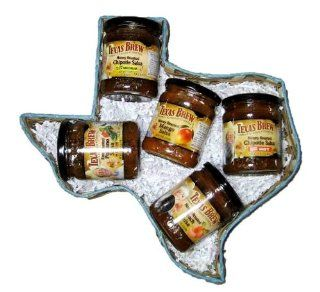 Taste of Texas Salsa Gift Basket   5 Salsas in Texas Shape Basket  Grocery & Gourmet Food