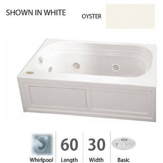 """Jacuzzi LXS6030WLR2HXY Oyster Luxura 60"""" x 30"""" Luxura Three Wall Alcove Comfort Whirlpool Bathtub with 8 Jets, Basic Controls, RapidHeat Heater, Left Drain and Right Pump LXS6030 WLR 2HX   Recessed Bathtubs"""