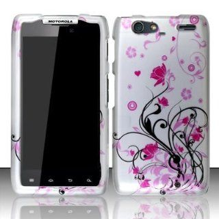 Motorola Droid Razr Maxx XT912M Accessory   Black vines & Pink Lotus Flower Design Protective Hard Case Cover for Verizon: Cell Phones & Accessories