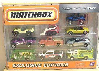 2009 2010 Matchbox Collector 10 Pack EXCLUSIVE EDITIONS Cliff Hanger, Jeep Willys, Skidster, 1971 VW Porsche 914, Baja Bullet, 1957 GMC Stepside, 2010 Honda Insight, Express Delivery, 2010 Ford F 150 SVT Raptor, Hazard Squad