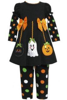 Bonnie Jean Girls Halloween Ornaments' Applique Dress and Legging Set Clothing