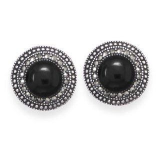925 Sterling Silver Marcasite and Black Onyx Stud Earrings: West Coast Jewelry: Jewelry