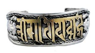 Tibetan Silver Om Mani Padme Hum Buddhist Mantra Prayer Bracelet, Buddhist Bracelet, Tibetan Bracelet: Everything Else