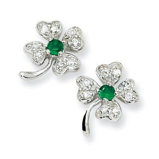 Sterling Silver Simulated Emerald/CZ 4 leaf Clover Post Earrings: West Coast Jewelry: Jewelry