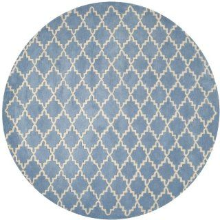 Safavieh CHT940A Chatham Collection Wool Round Handmade Area Rug, 7 Feet, Light Blue and Ivory