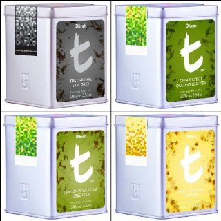 Dilmah, Luxury t series, Collection of Teas, One Each of Original Earl Grey, Single Estate Oolong, Ceylon Whole Leaf Green Tea and Award Winning Pure Chamomile Flowers, 100% Pure Ceylon Single Origin Leaf Tea, Designer Caddy, (Pack of 4) : Grocery Tea Samp