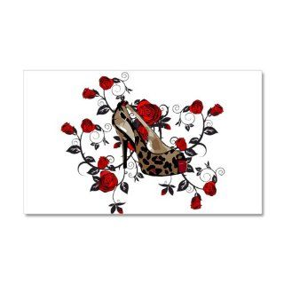 leopard high heel shoe roses art 20x12 Wall Decal by CafePress   Wall Decor Stickers