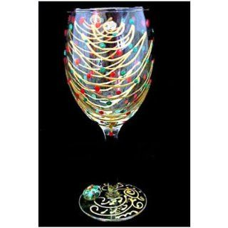 Christmas Trees Design Hand Painted Wine Glass Kitchen & Dining