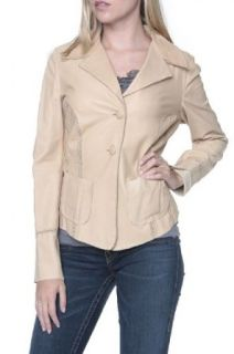 Cristiano di Thiene Leather Jacket NATURELLE SG, Color: Beige, Size: 38 at  Women�s Clothing store
