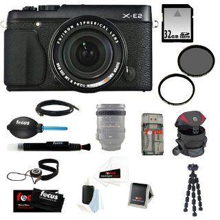 Fujifilm X E2 XE2 16.3 MP Compact System Digital Camera (Black) + 32GB SD HC Memory Card + Tiffen 58mm Circular Polarizing Lens Filter + Accessory Kit  Point And Shoot Digital Camera Bundles  Camera & Photo