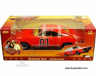 Amm964 Auto World Silver Screen Machines   The Dukes of Hazzard General Lee Dodge Charger #01 (1969, 1:18, Orange) Amm964 Diecast Car Model Auto Vehicle Automobile Metal Iron Toy: Toys & Games