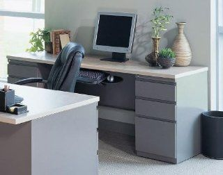 Credenza with two Pedestals Desert Sage/Classic Rock HP/Taupe   Home Office Desks