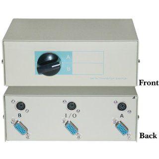 HD15 (VGA) Female / MiniDin6 (PS/2) Female, AB 2 Way Switch Box: Computers & Accessories