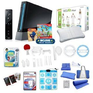 Nintendo Wii Black Super Mario Holiday Bundle with Wii Fit Plus, Dance Pad, Wheels, and Much More Video Games
