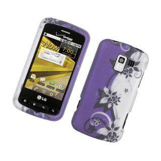 For LG Enlighten Optimus Slider LS700 Gelato Q Hard Case Purple Silver Vines